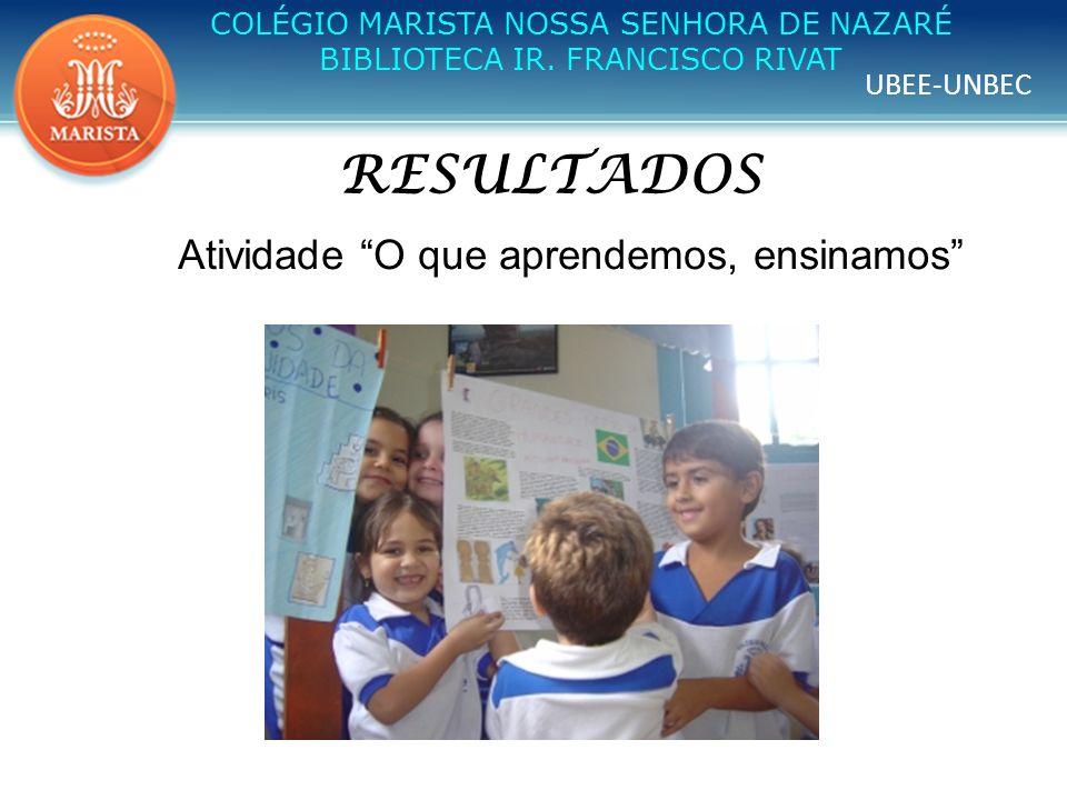 UBEE-UNBEC COLÉGIO MARISTA NOSSA SENHORA DE NAZARÉ BIBLIOTECA IR. FRANCISCO RIVAT RESULTADOS Atividade O que aprendemos, ensinamos