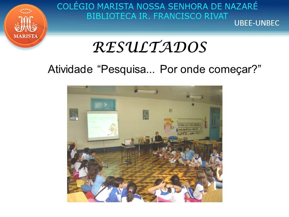 UBEE-UNBEC COLÉGIO MARISTA NOSSA SENHORA DE NAZARÉ BIBLIOTECA IR. FRANCISCO RIVAT RESULTADOS Atividade Pesquisa... Por onde começar?