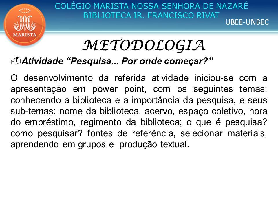 UBEE-UNBEC COLÉGIO MARISTA NOSSA SENHORA DE NAZARÉ BIBLIOTECA IR. FRANCISCO RIVAT METODOLOGIA Atividade Pesquisa... Por onde começar? O desenvolviment