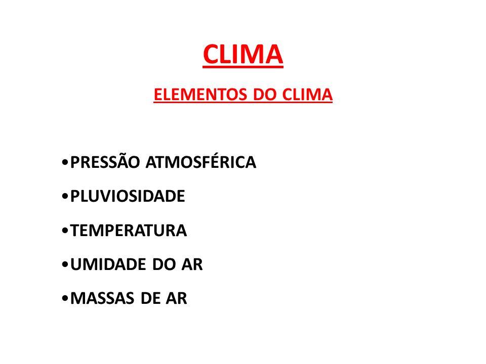 CLIMA ELEMENTOS DO CLIMA PRESSÃO ATMOSFÉRICA PLUVIOSIDADE TEMPERATURA UMIDADE DO AR MASSAS DE AR