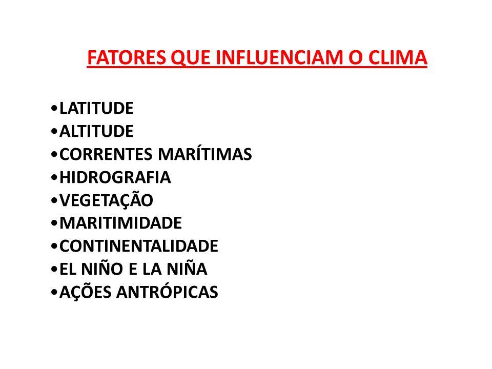 FATORES QUE INFLUENCIAM O CLIMA LATITUDE ALTITUDE CORRENTES MARÍTIMAS HIDROGRAFIA VEGETAÇÃO MARITIMIDADE CONTINENTALIDADE EL NIÑO E LA NIÑA AÇÕES ANTR
