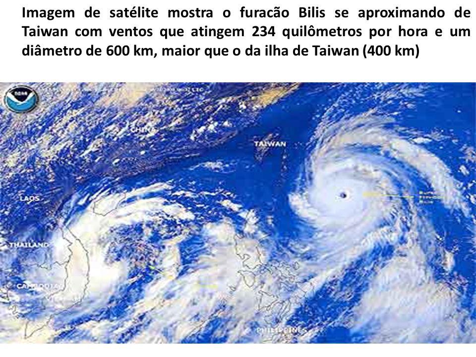Imagem de satélite mostra o furacão Bilis se aproximando de Taiwan com ventos que atingem 234 quilômetros por hora e um diâmetro de 600 km, maior que