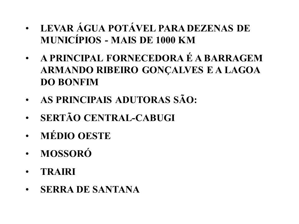 LEVAR ÁGUA POTÁVEL PARA DEZENAS DE MUNICÍPIOS - MAIS DE 1000 KM A PRINCIPAL FORNECEDORA É A BARRAGEM ARMANDO RIBEIRO GONÇALVES E A LAGOA DO BONFIM AS