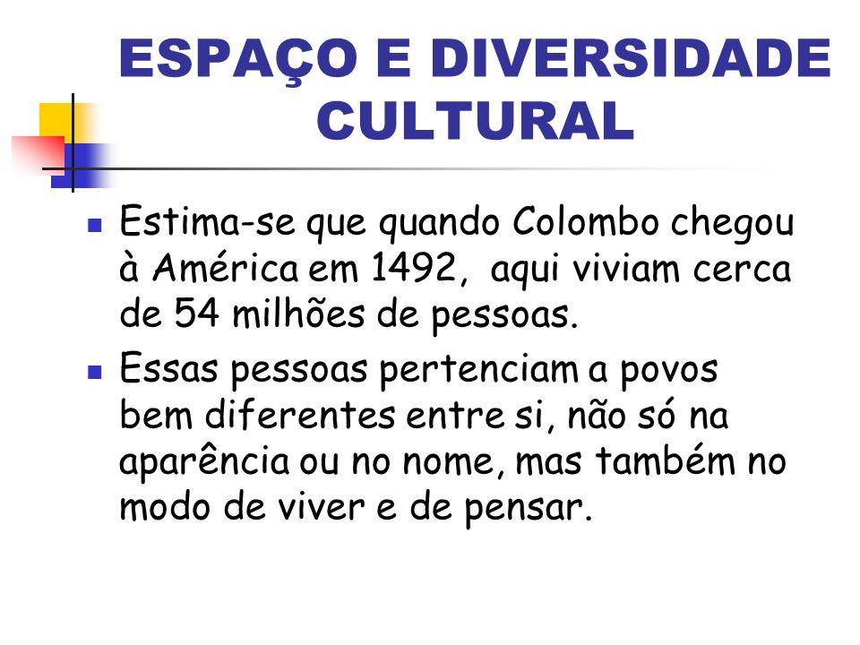 ESPAÇO E DIVERSIDADE CULTURAL Estima-se que quando Colombo chegou à América em 1492, aqui viviam cerca de 54 milhões de pessoas. Essas pessoas pertenc