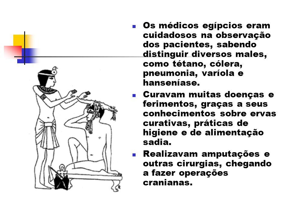 Os médicos egípcios eram cuidadosos na observação dos pacientes, sabendo distinguir diversos males, como tétano, cólera, pneumonia, varíola e hanseníase.