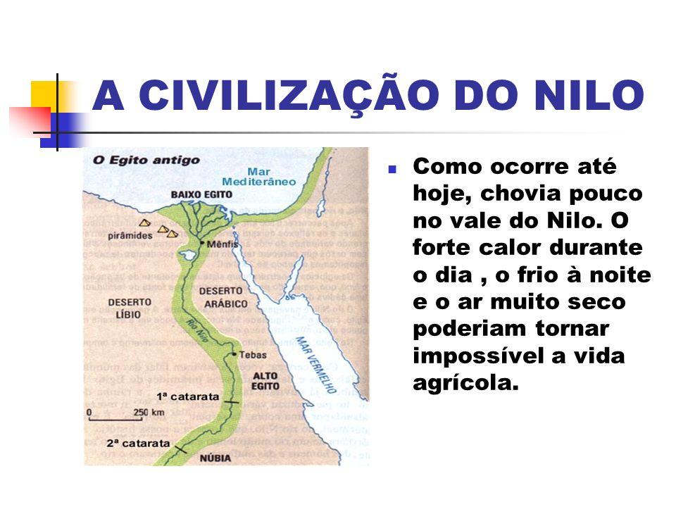 A CIVILIZAÇÃO DO NILO Como ocorre até hoje, chovia pouco no vale do Nilo.