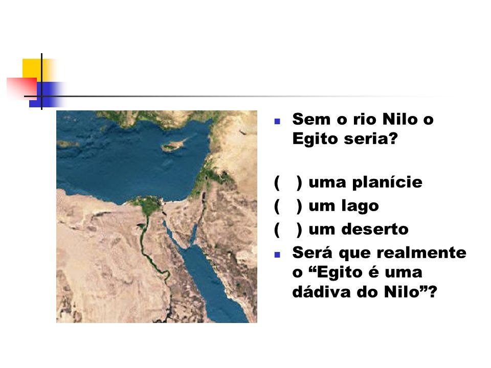Sem o rio Nilo o Egito seria? ( ) uma planície ( ) um lago ( ) um deserto Será que realmente o Egito é uma dádiva do Nilo?