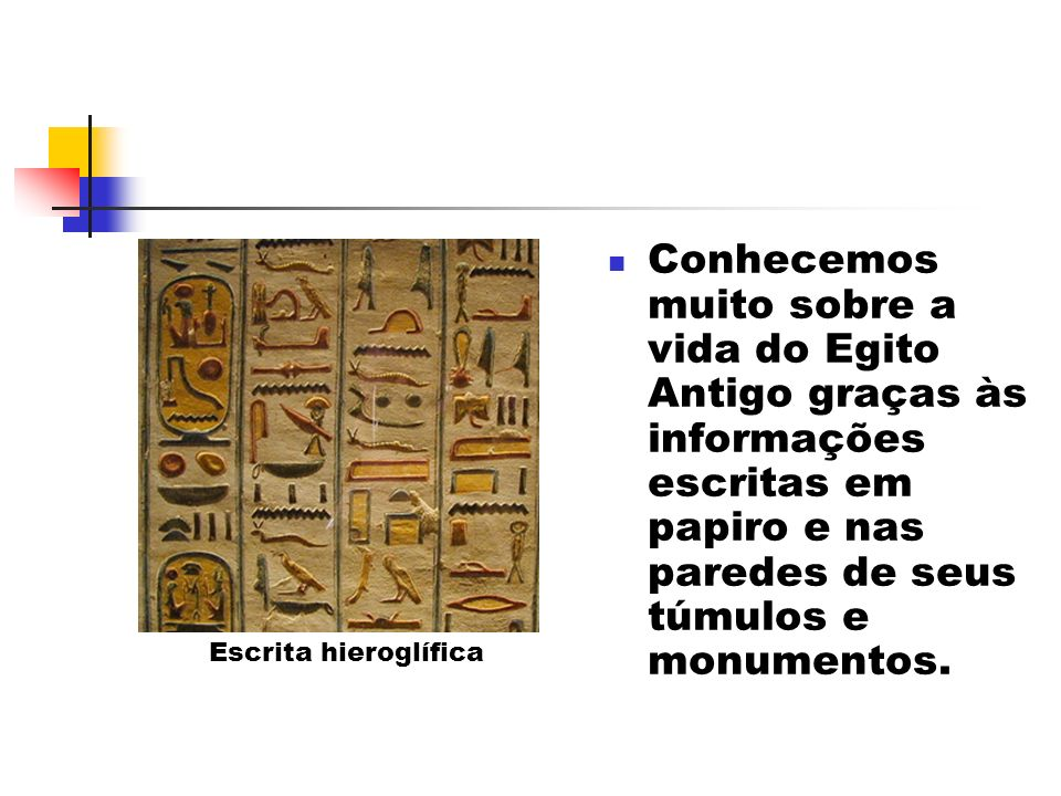 Conhecemos muito sobre a vida do Egito Antigo graças às informações escritas em papiro e nas paredes de seus túmulos e monumentos. Escrita hieroglífic