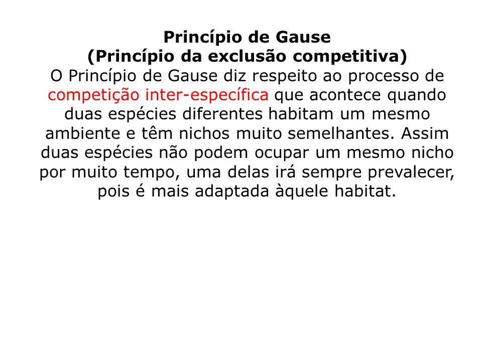Princípio de Gause (Princípio da exclusão competitiva) O Princípio de Gause diz respeito ao processo de competição inter-específica que acontece quand