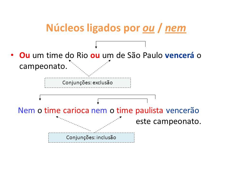 Núcleos ligados por ou / nem Ou um time do Rio ou um de São Paulo vencerá o campeonato. Conjunções: exclusão Nem o time carioca nem o time paulista ve