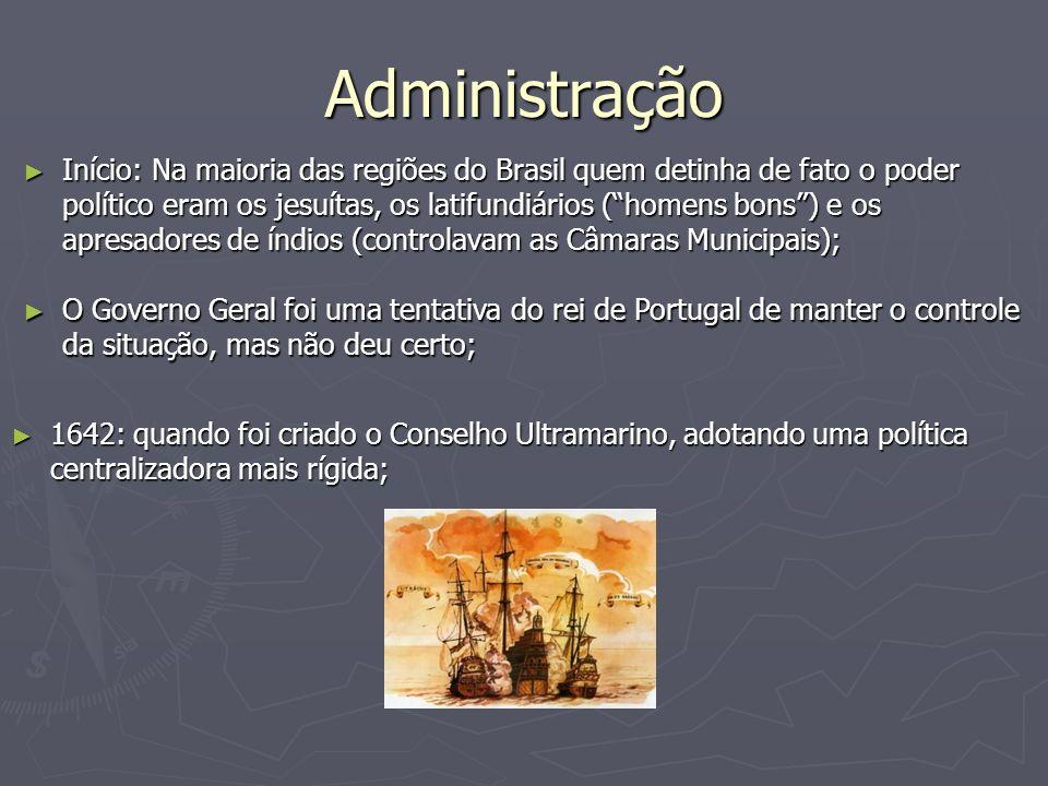 Administração Início: Na maioria das regiões do Brasil quem detinha de fato o poder político eram os jesuítas, os latifundiários (homens bons) e os ap