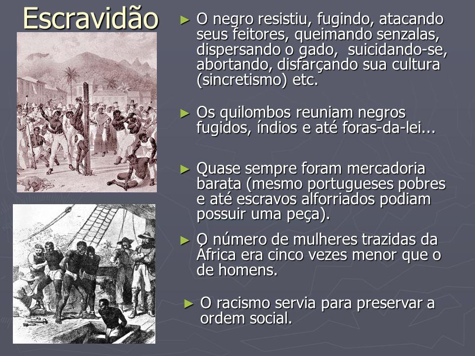 Escravidão O negro resistiu, fugindo, atacando seus feitores, queimando senzalas, dispersando o gado, suicidando-se, abortando, disfarçando sua cultur