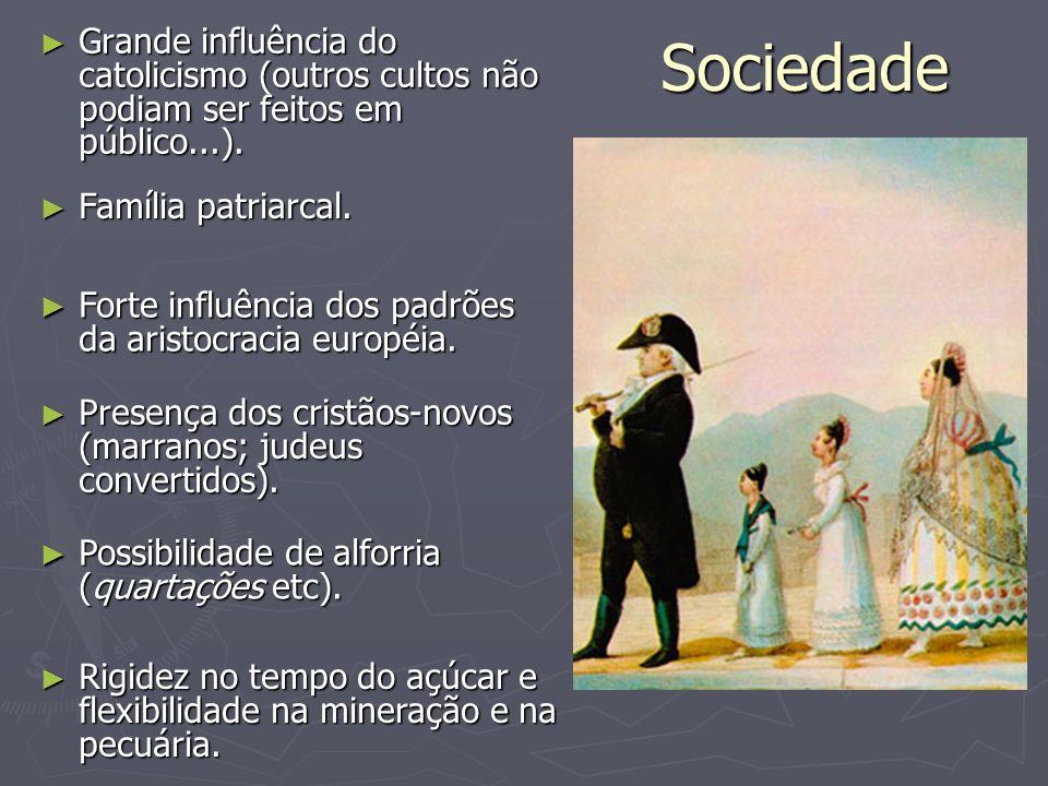 Sociedade Grande influência do catolicismo (outros cultos não podiam ser feitos em público...). Grande influência do catolicismo (outros cultos não po