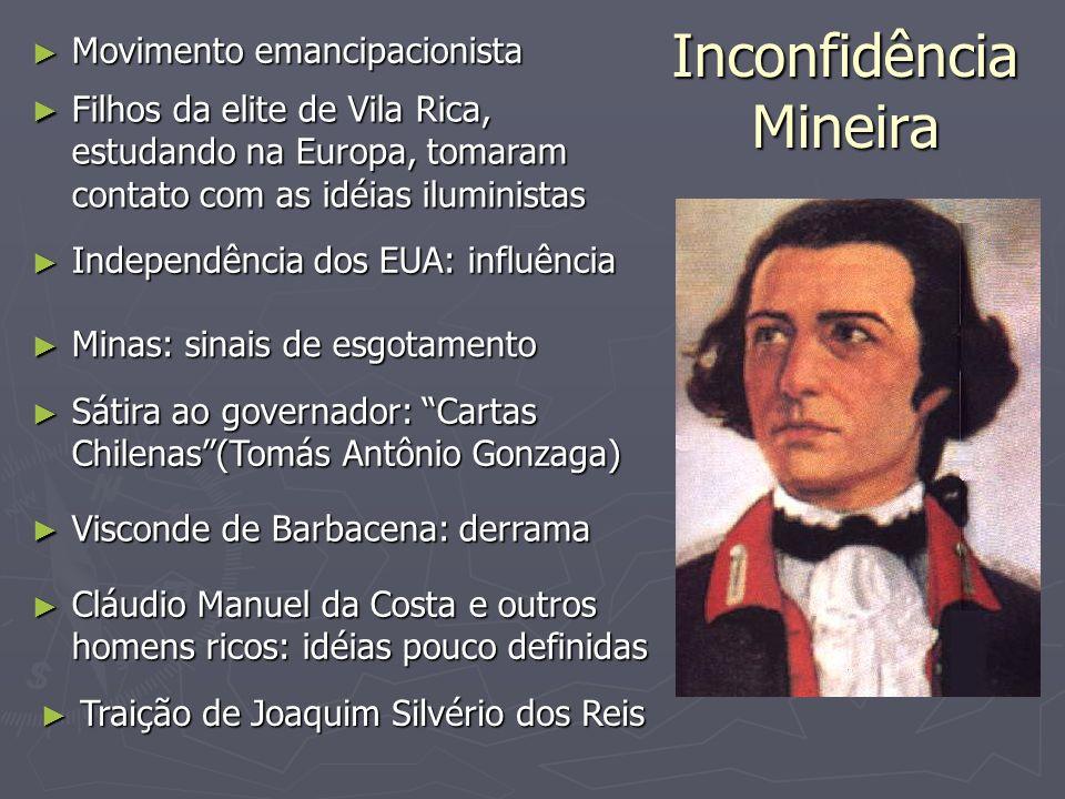 Inconfidência Mineira Movimento emancipacionista Movimento emancipacionista Filhos da elite de Vila Rica, estudando na Europa, tomaram contato com as