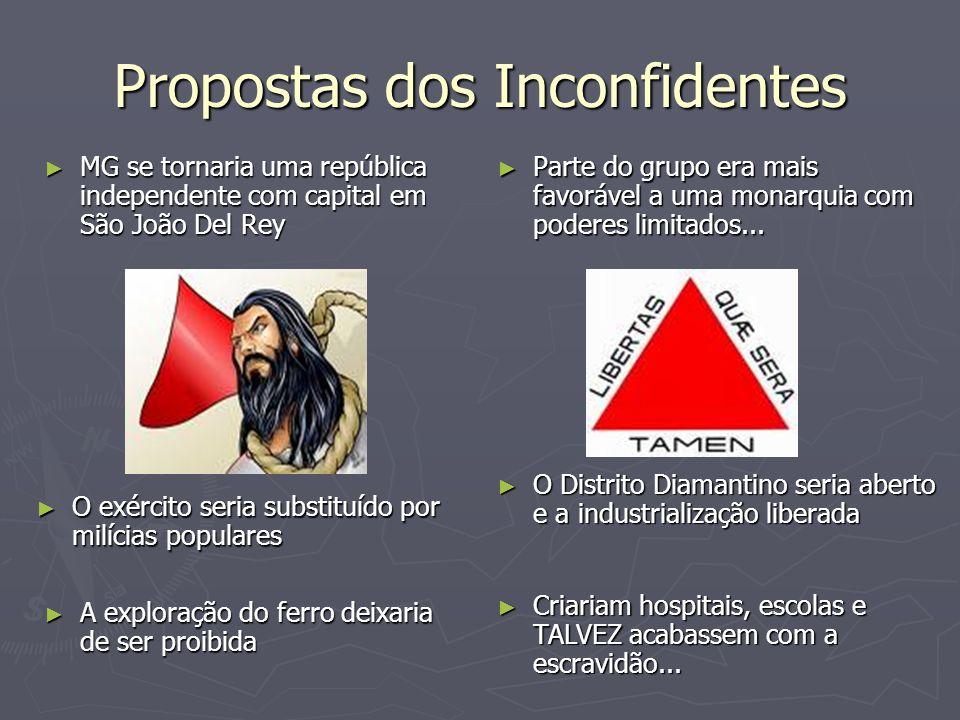Propostas dos Inconfidentes MG se tornaria uma república independente com capital em São João Del Rey MG se tornaria uma república independente com ca