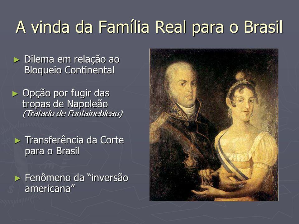 A vinda da Família Real para o Brasil Dilema em relação ao Bloqueio Continental Dilema em relação ao Bloqueio Continental Opção por fugir das tropas d