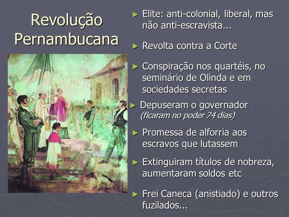 Revolução Pernambucana Elite: anti-colonial, liberal, mas não anti-escravista... Elite: anti-colonial, liberal, mas não anti-escravista... Revolta con