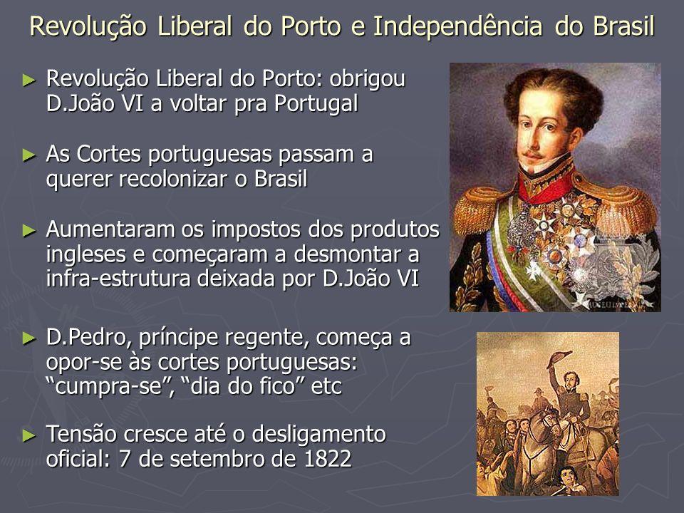 Revolução Liberal do Porto e Independência do Brasil Revolução Liberal do Porto: obrigou D.João VI a voltar pra Portugal Revolução Liberal do Porto: o