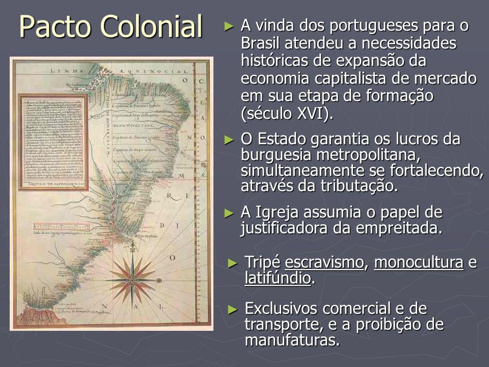 Pacto Colonial A vinda dos portugueses para o Brasil atendeu a necessidades históricas de expansão da economia capitalista de mercado em sua etapa de