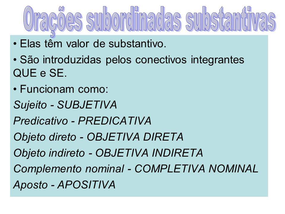 1- Subjetiva : a oração subordinada exerce a função de sujeito da oração principal.