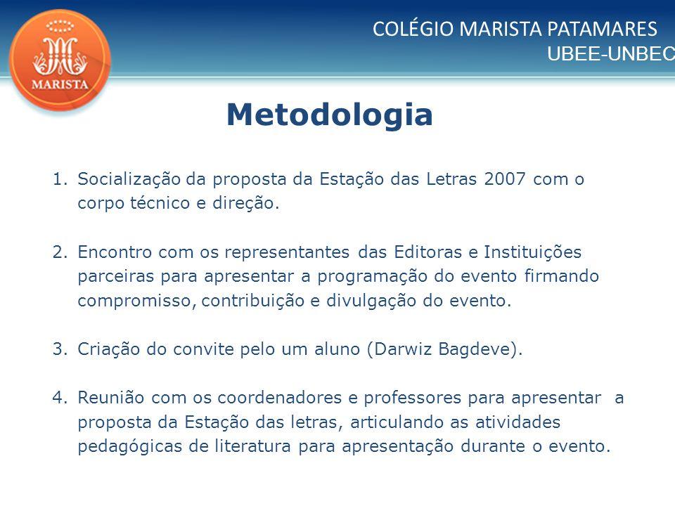 UBEE-UNBEC COLÉGIO MARISTA PATAMARES 1.Socialização da proposta da Estação das Letras 2007 com o corpo técnico e direção. 2.Encontro com os representa
