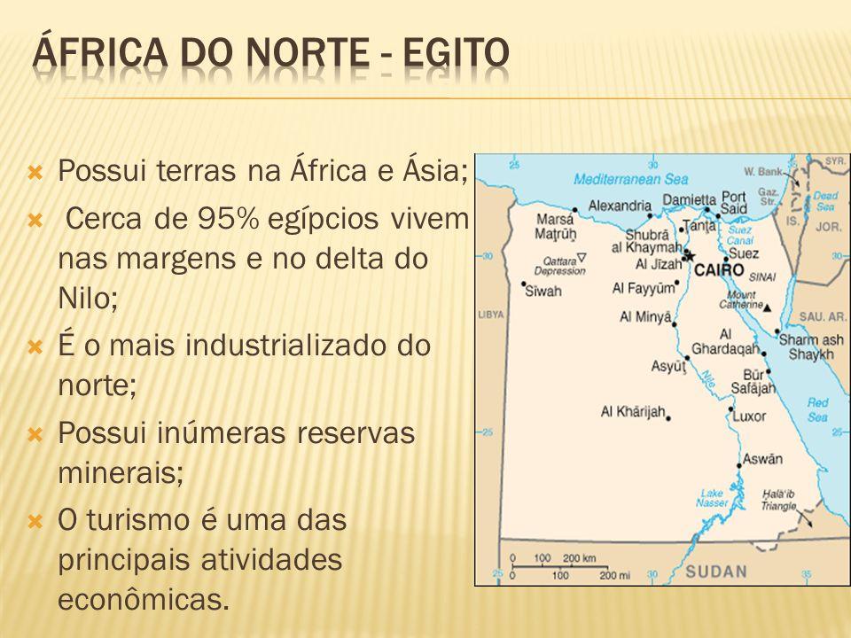 Possui terras na África e Ásia; Cerca de 95% egípcios vivem nas margens e no delta do Nilo; É o mais industrializado do norte; Possui inúmeras reserva