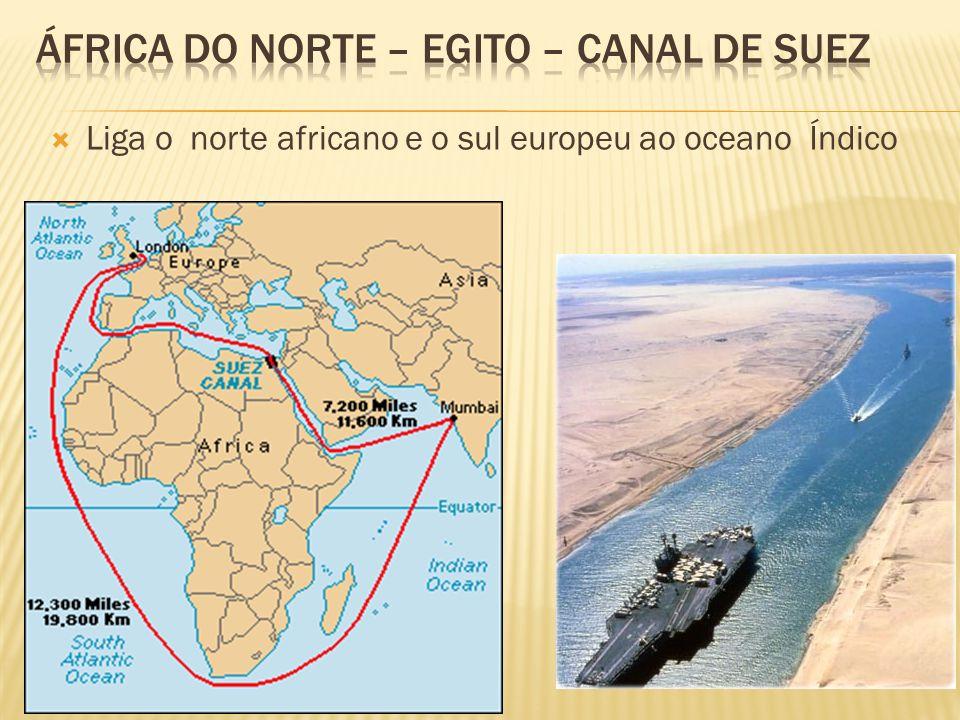 Liga o norte africano e o sul europeu ao oceano Índico