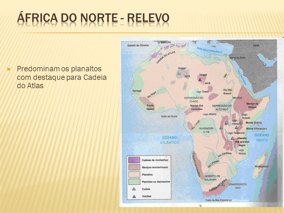 Predominam os planaltos com destaque para Cadeia do Atlas