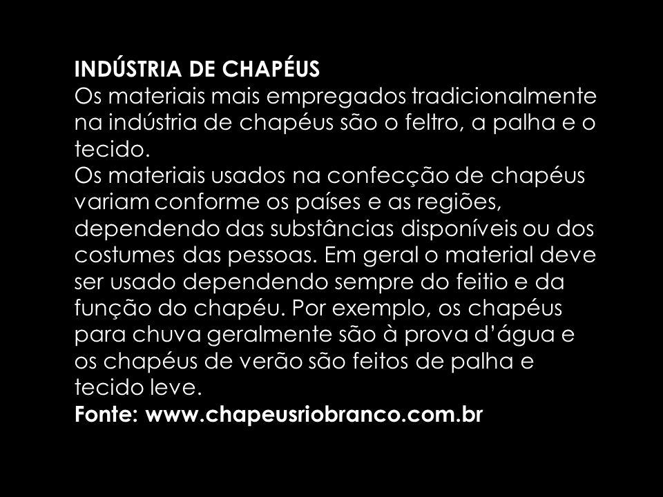 INDÚSTRIA DE CHAPÉUS Os materiais mais empregados tradicionalmente na indústria de chapéus são o feltro, a palha e o tecido. Os materiais usados na co