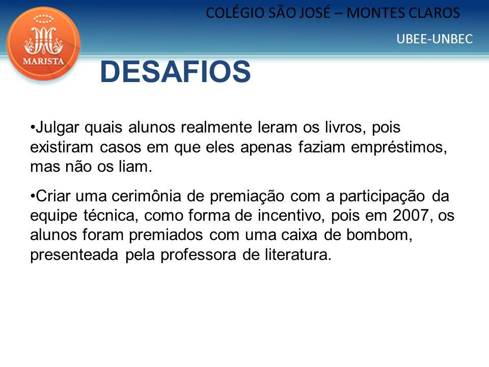 UBEE-UNBEC COLÉGIO SÃO JOSÉ – MONTES CLAROS RESULTADOS