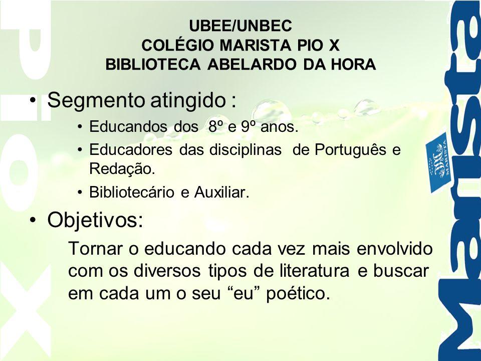 UBEE/UNBEC COLÉGIO MARISTA PIO X BIBLIOTECA ABELARDO DA HORA Segmento atingido : Educandos dos 8º e 9º anos. Educadores das disciplinas de Português e