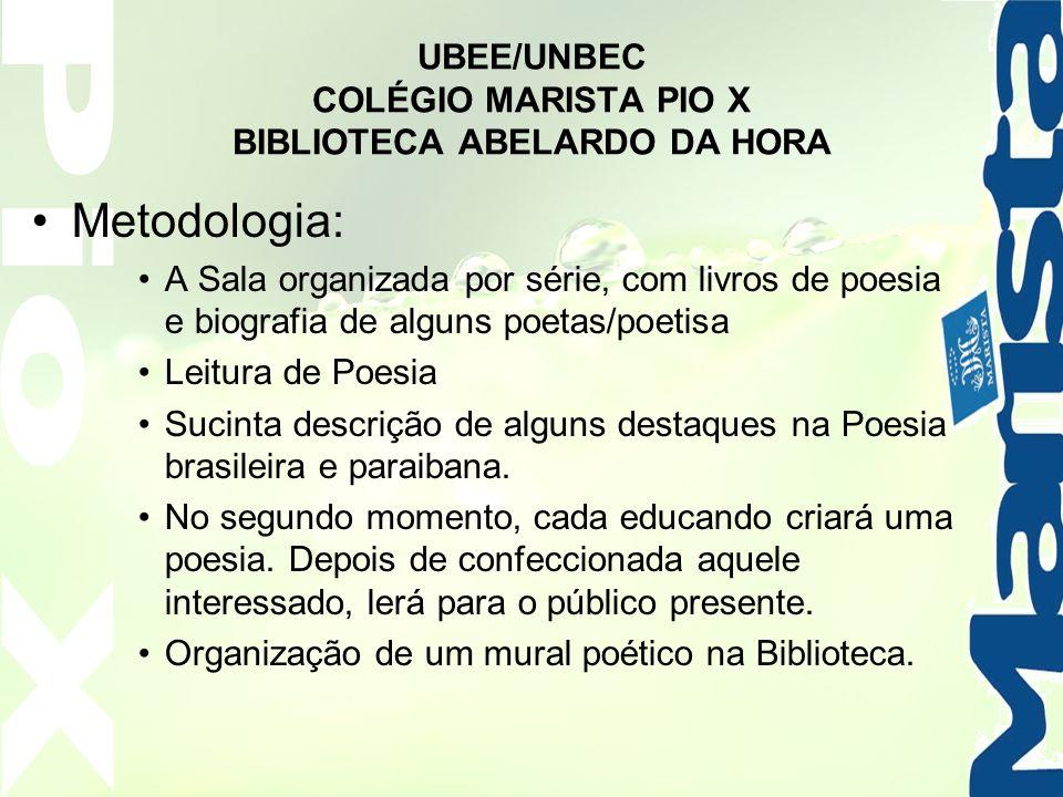UBEE/UNBEC COLÉGIO MARISTA PIO X BIBLIOTECA ABELARDO DA HORA Metodologia: A Sala organizada por série, com livros de poesia e biografia de alguns poet
