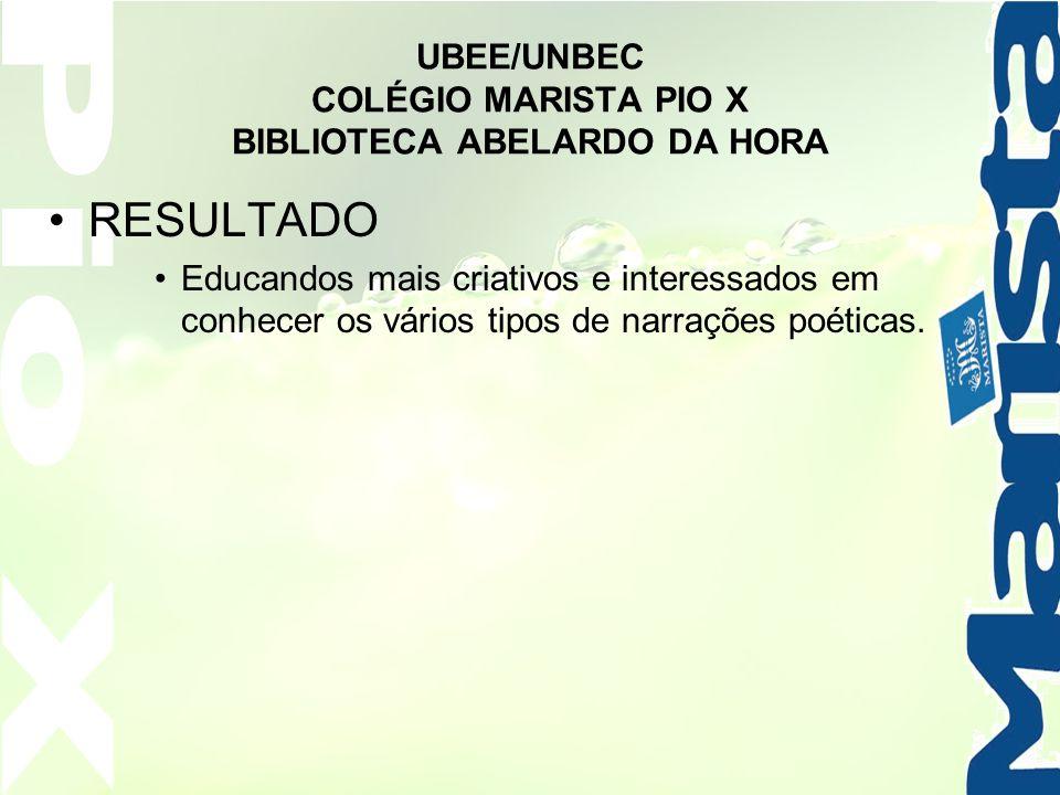 UBEE/UNBEC COLÉGIO MARISTA PIO X BIBLIOTECA ABELARDO DA HORA RESULTADO Educandos mais criativos e interessados em conhecer os vários tipos de narraçõe