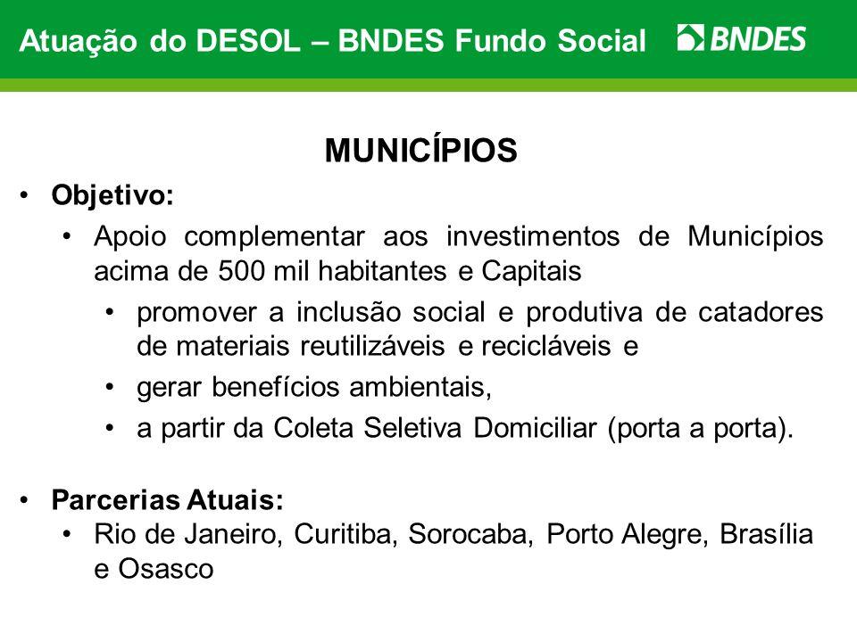 Atuação do DESOL – BNDES Fundo Social MUNICÍPIOS Objetivo: Apoio complementar aos investimentos de Municípios acima de 500 mil habitantes e Capitais p