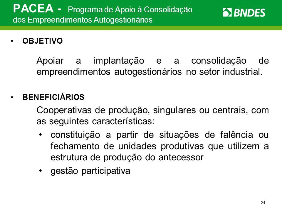 24 PACEA - Programa de Apoio à Consolidação dos Empreendimentos Autogestionários OBJETIVO Apoiar a implantação e a consolidação de empreendimentos aut