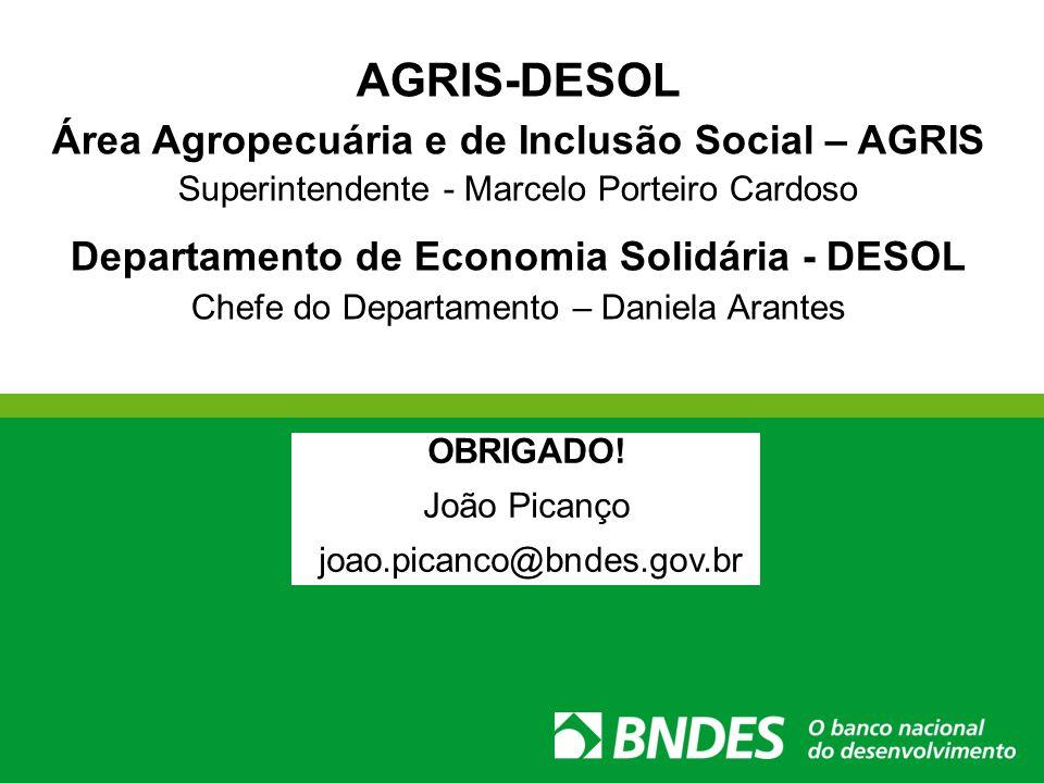 AGRIS-DESOL Área Agropecuária e de Inclusão Social – AGRIS Superintendente - Marcelo Porteiro Cardoso Departamento de Economia Solidária - DESOL Chefe