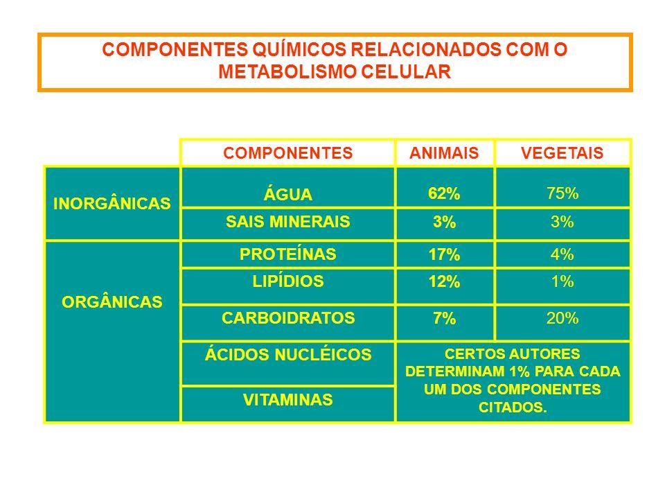 COMPONENTES QUÍMICOS RELACIONADOS COM O METABOLISMO CELULAR COMPONENTESANIMAISVEGETAIS INORGÂNICAS ÁGUA 62%75% SAIS MINERAIS3% ORGÂNICAS PROTEÍNAS17%4