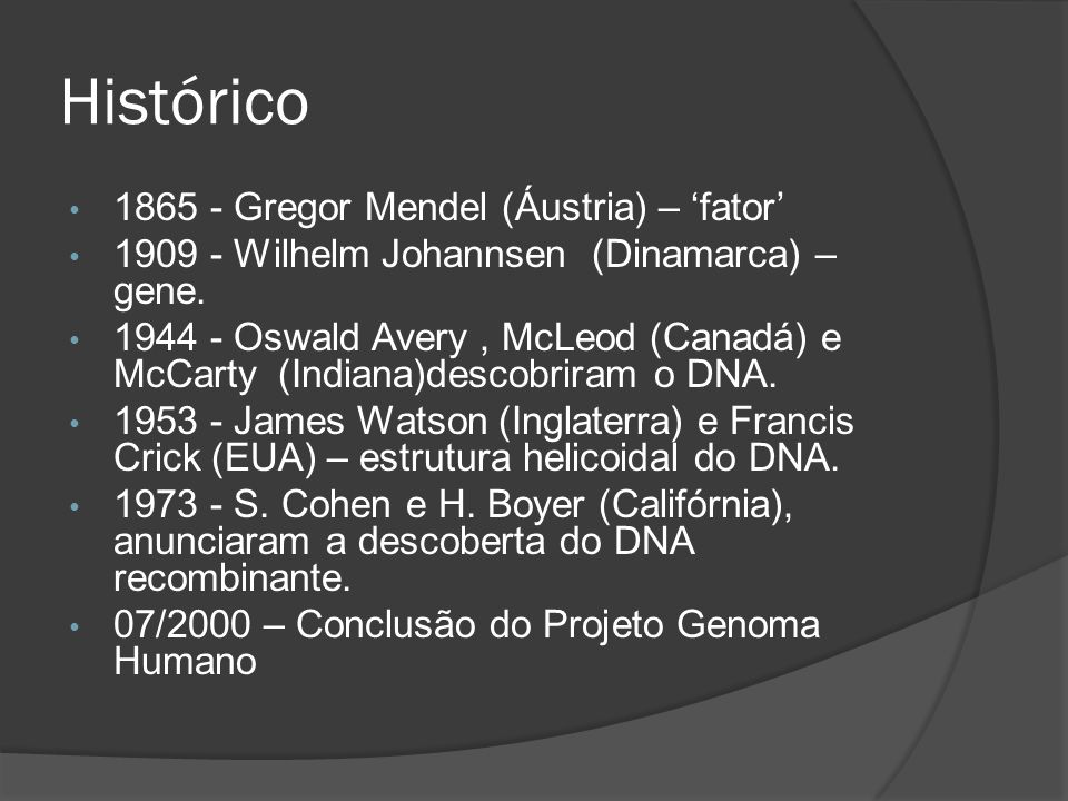 Histórico 1865 - Gregor Mendel (Áustria) – fator 1909 - Wilhelm Johannsen (Dinamarca) – gene. 1944 - Oswald Avery, McLeod (Canadá) e McCarty (Indiana)