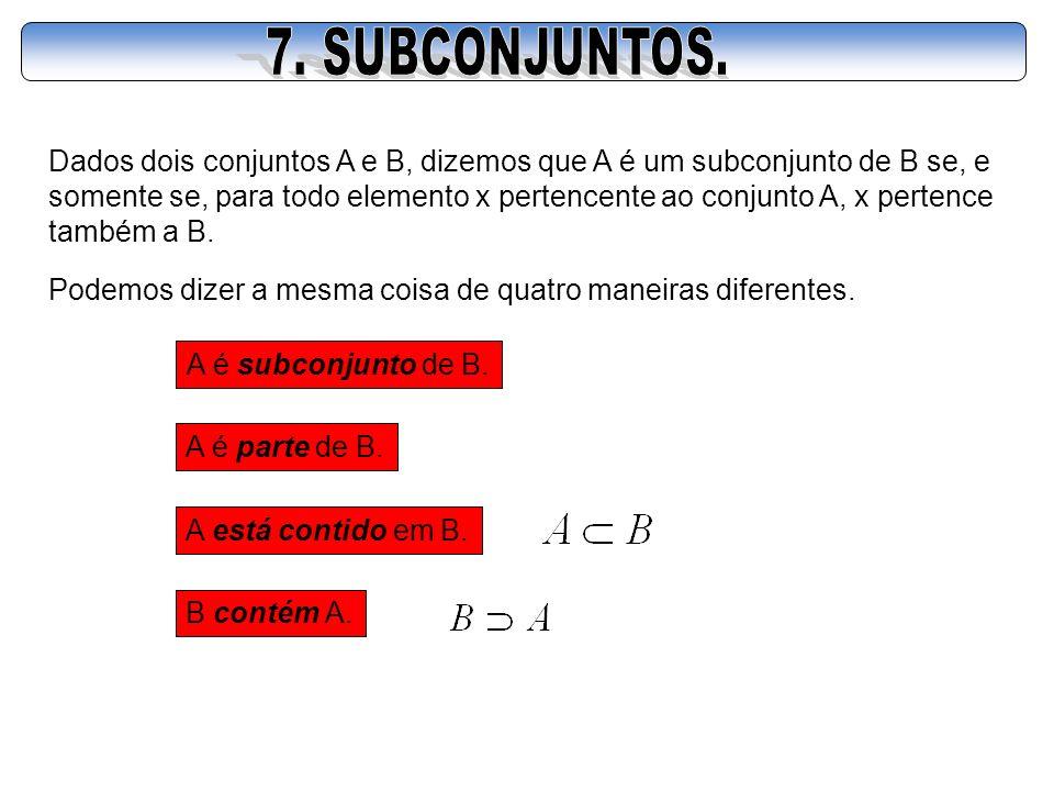 Dados dois conjuntos A e B, dizemos que A é um subconjunto de B se, e somente se, para todo elemento x pertencente ao conjunto A, x pertence também a
