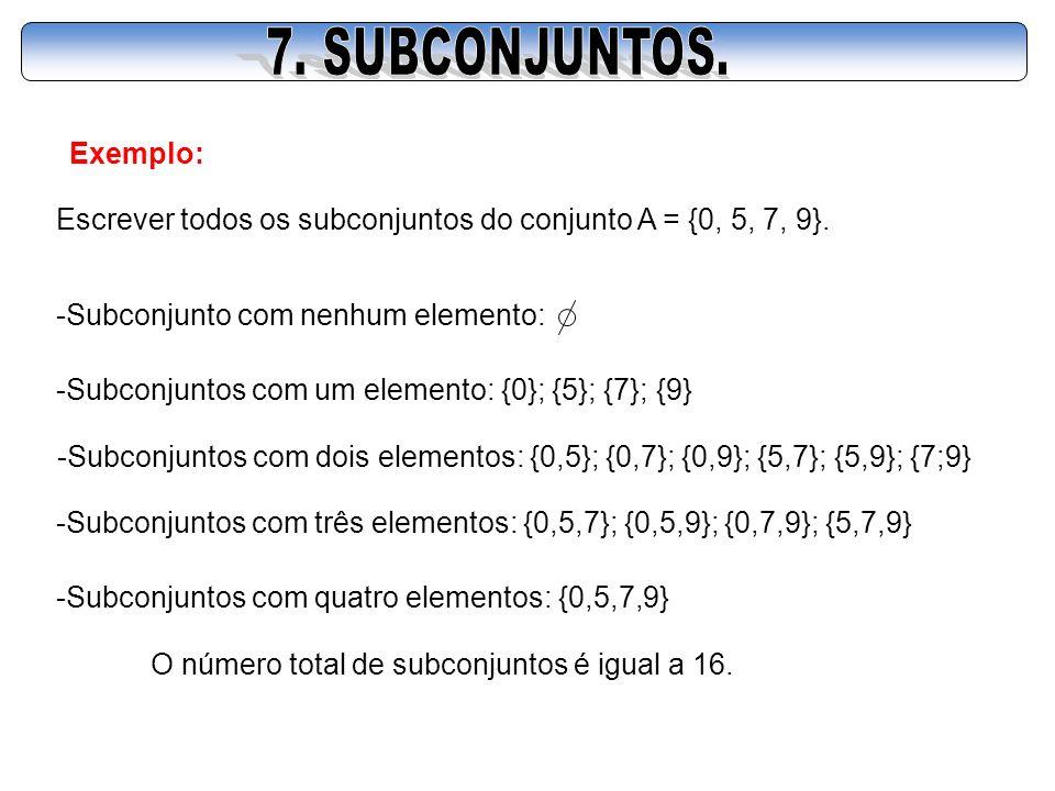 Exemplo: Escrever todos os subconjuntos do conjunto A = {0, 5, 7, 9}. -Subconjunto com nenhum elemento: -Subconjuntos com um elemento: {0}; {5}; {7};