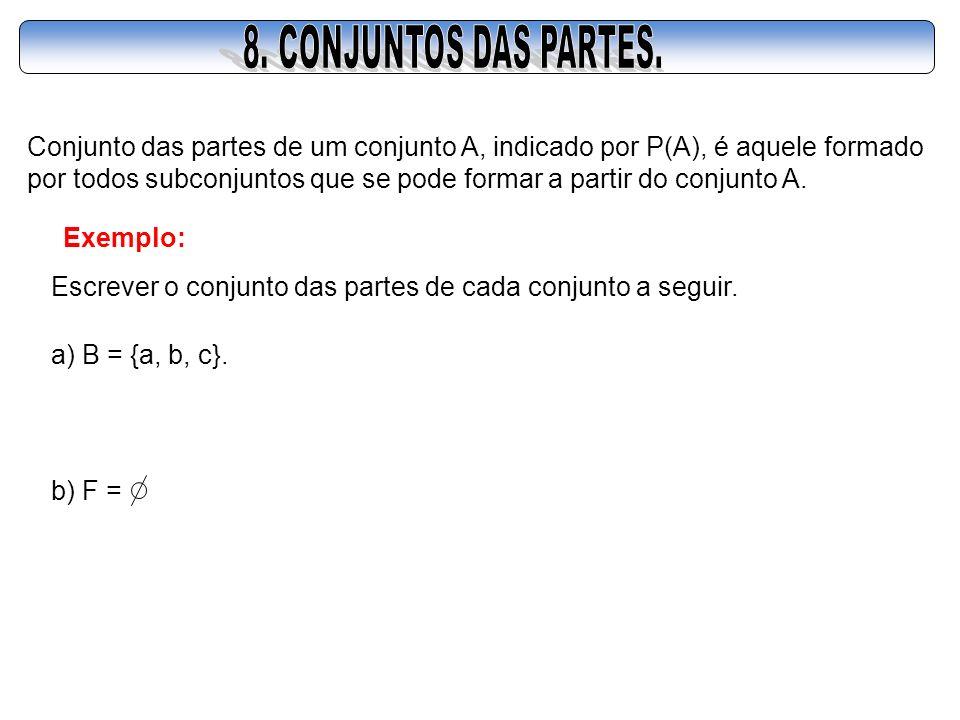 Conjunto das partes de um conjunto A, indicado por P(A), é aquele formado por todos subconjuntos que se pode formar a partir do conjunto A. Exemplo: E