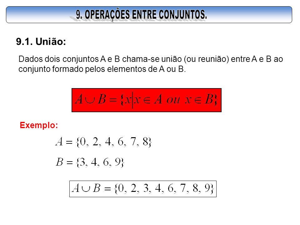 9.1. União: Dados dois conjuntos A e B chama-se união (ou reunião) entre A e B ao conjunto formado pelos elementos de A ou B. Exemplo: