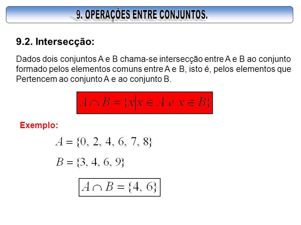 9.2. Intersecção: Dados dois conjuntos A e B chama-se intersecção entre A e B ao conjunto formado pelos elementos comuns entre A e B, isto é, pelos el