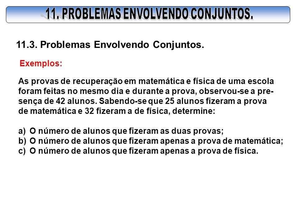 11.3. Problemas Envolvendo Conjuntos. Exemplos: As provas de recuperação em matemática e física de uma escola foram feitas no mesmo dia e durante a pr