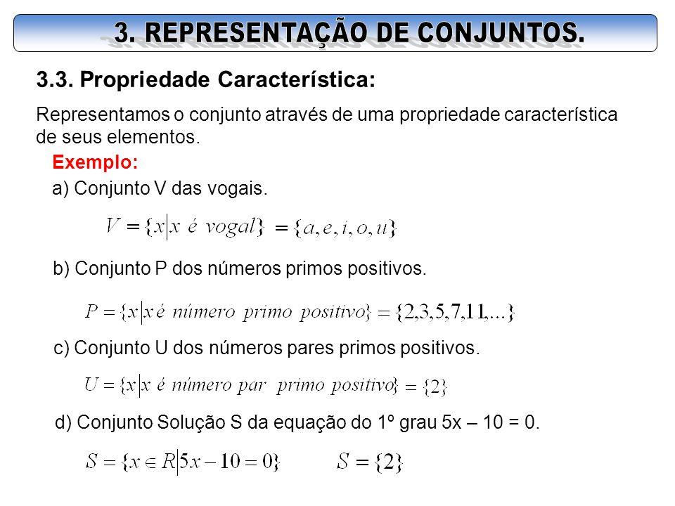 3.3. Propriedade Característica: Representamos o conjunto através de uma propriedade característica de seus elementos. Exemplo: a) Conjunto V das voga