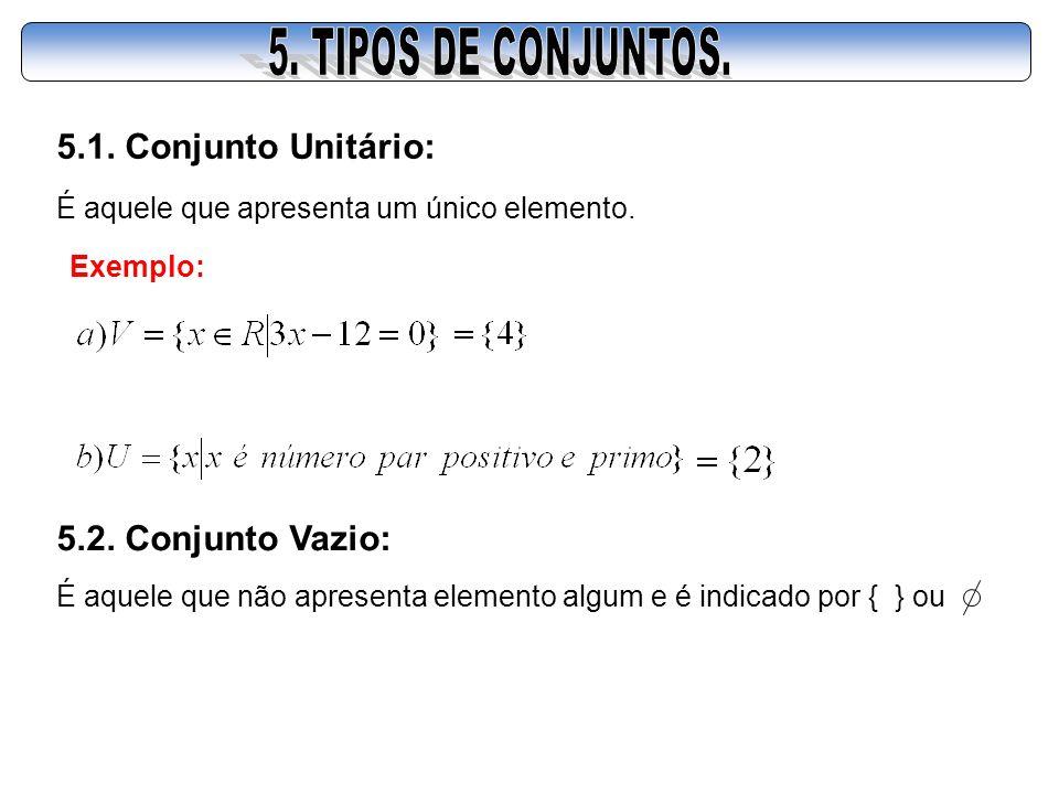 5.1. Conjunto Unitário: É aquele que apresenta um único elemento. Exemplo: 5.2. Conjunto Vazio: É aquele que não apresenta elemento algum e é indicado