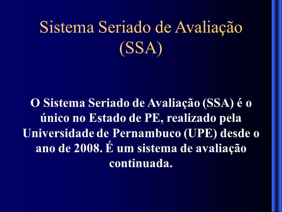 O Sistema Seriado de Avaliação (SSA) é o único no Estado de PE, realizado pela Universidade de Pernambuco (UPE) desde o ano de 2008. É um sistema de a