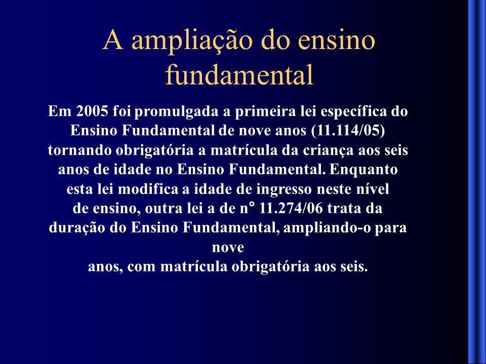 A ampliação do ensino fundamental Em 2005 foi promulgada a primeira lei específica do Ensino Fundamental de nove anos (11.114/05) tornando obrigatória