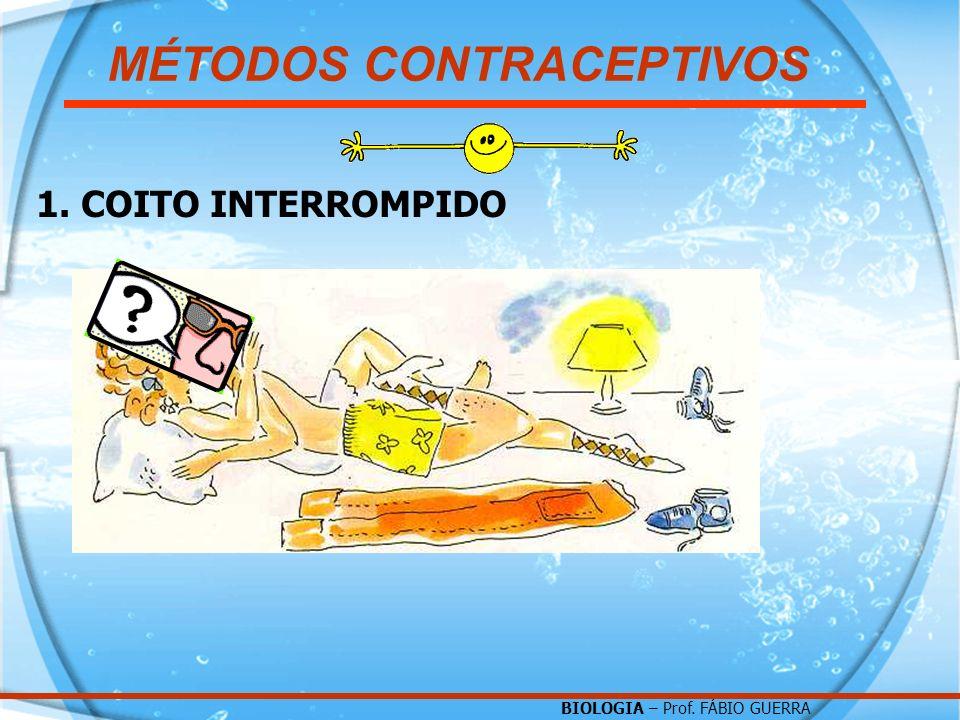 BIOLOGIA – Prof. FÁBIO GUERRA 1. COITO INTERROMPIDO MÉTODOS CONTRACEPTIVOS