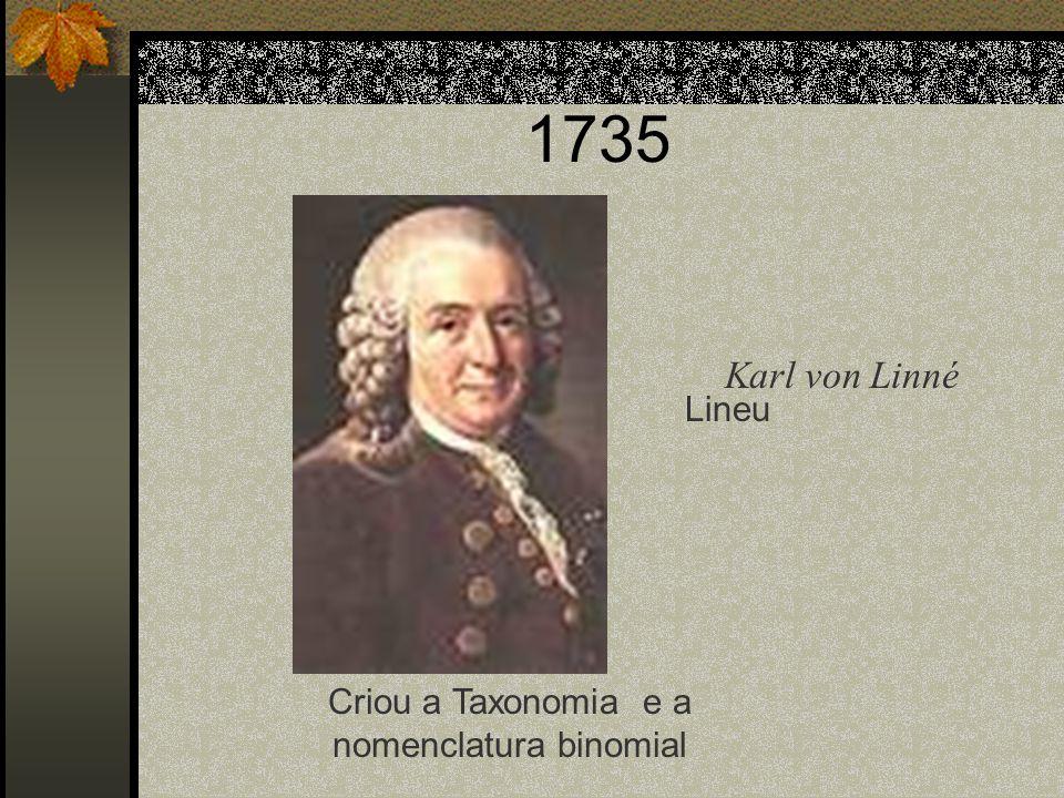 1735 Lineu Criou a Taxonomia e a nomenclatura binomial Karl von Linné